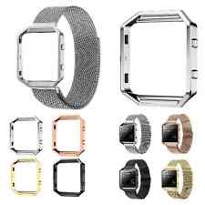 Stainless Steel Bracelet Strap Watch Band + Metal Frame +Glass For Fitbit Blaze