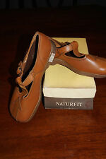 NEW VTG SAVAGE NATURFIT BROWN LEATHER MARY JANE SHOES 60'S 70'S W ARROW  NOS