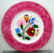 "SIGNED Hungarian folk art handpainted Kalocsa floral pink marbled 10"" WOOD PLATE"