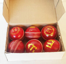 Red Leather Cricket Match Balls ball GENUINE ball 4 Piece Senior Adult 5.5oz