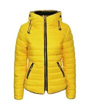 New Ladies Women Bubble Quilted Padded Fur Collar Long Sleeve Yellow Jacket Coat