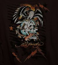 Ed Hardy Hoodie Sweatshirt Skull Snake Eagle Brown Brand New