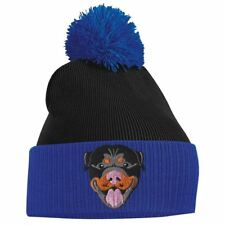 Rottweiler Dog Face Cute Animal Embroidered bobble Beanie Hat Logo Women's