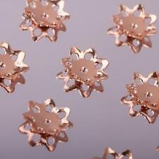 Wholesale 10pcs Rose Gold Flower Silver Bead Caps 5mm/6mm/8mm for Jewelry Making