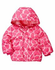 Gymboree Loveable Giraffe Hooded Puffer Jacket Pink Coat Size 12-24 months new