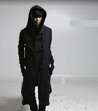 Mens Long Jacket Punk Hooded gothic Trench Coat Toggle cardigan Outerwear New YT