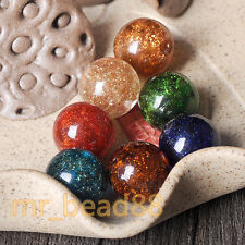 5Pcs Gold Foil Dot Glass Beads Loose Beads DIY Lampwork Jewelry Findings 12mm