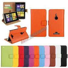 Genuine Leather Wallet Stand Card Case Cover Protector Skin For NOKIA LUMIA
