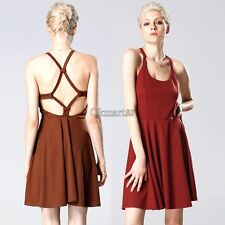 New Women Strap Backless High Waist Solid Pleated Dress Casual Club Wear OK