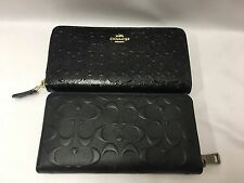 NWT Coach Accordion Zip Wallet in Signature Leather F54805 F75372 Black