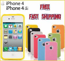 iPhone 4 4S TPU Candy Glossy Case Cover Soft Rubber Logo Hole FREE Fast Shipping