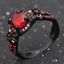 Retro Round Red Ruby Wedding Band Women's 10KT Black Gold Filled Ring Size 6-10