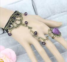 Womens Vintage Jewelry Flower Vine Lolita Lace Bracelet With rings hand chain