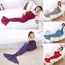 Toddler Baby Girls Kids Knitted Mermaid Tail Sofa Blanket Crocheted Sleeping Bag