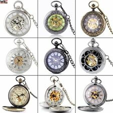 Antique Roman Dial Mechanical Windup Skeleton Pocket Watch Chain Steampunk Gift
