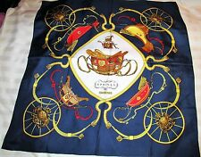 HERMES CARRAIGE PRINT RED WHITE BLUE and GOLD LARGE SILK SCARF - EUC