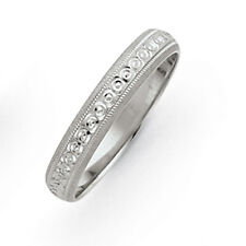 14K White Gold 3mm Swirled Milgrain Etched Design Wedding Band Ring Sz 5 - 8.5