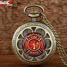 Fire Fighter New Vintage Pocket Watch Quartz Necklace Chain US Marine Corps Gift