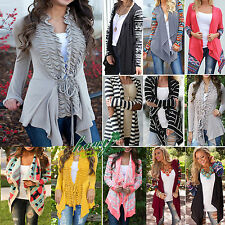 Womens New Boyfriend Knitted Open Cardigan Top Ladies Long Sleeve Sweater Coat