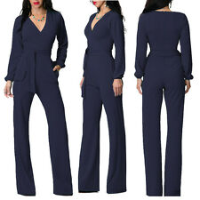 Womens Formal Business OL Work Long Jumpsuits Rompers Wide Leg V Neck Trousers B