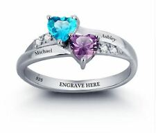 Personalized Engrave Name DIY Birthstone Love Promise Ring 925 Sterling Silver