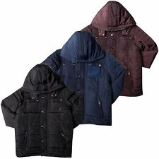 Kangol Boys Casual Quilted Coat Zip Through Hooded Jacket Sizes 4 – 10 years