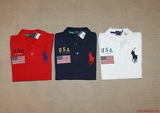 New Polo Ralph Lauren Womens Big Pony USA Flag Skinny Polo Shirt S