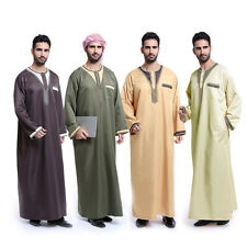 Fashion Men Jubba Kaftan Dishdasha Thobe Omani Arab Style Jabbah Clothing