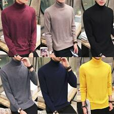 Mens Wool Sweater Pullover Turtleneck Soft Long Sleeve T-shirt Undershirt New YT