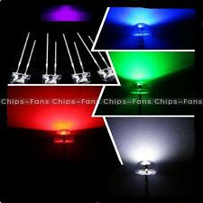5mm Straw Hat UV Purple/Blue/Green/Red/White/ Color LED Wide Angle Light Lamp UK