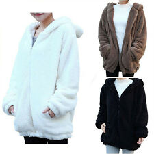 Cute Womens Loose Tops Bear Ear Coat Hoodie Hooded Jacket Winter Warm Outerwear