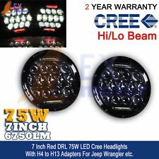 Hi/Lo Combo Beam CREE 7Inch 75W Red DRL Round LED Headlight Jeep Wrangler 2pc EX