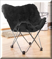 Folding Butterfly Chair Rich Black Metal Polyester Seat Bedroom Furniture Chairs