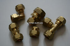 15mm Brass Compression Fittings-Straight Elbow ,tee,plumbing,copper pipe,job lot