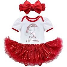 2PCS Baby Girl Christmas Red Tutu Romper Dress Outfit Clothes Headband Costume