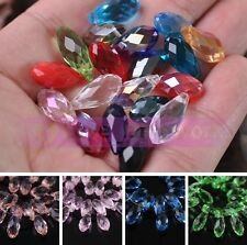 Lots 10/30pcs 16X7mm Faceted Teardrop Crystal Loose Glass Beads Pendants Jewelry