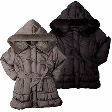 Kangol Girls Winter Padded Jacket Fur Hood Zip Through Jacket Girls Coat 4–10yrs