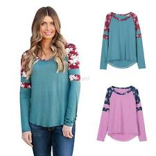 Fashion Women's Floral Blouse Shirt Casual Loose T-Shirt Long Sleeve Jumper Tops