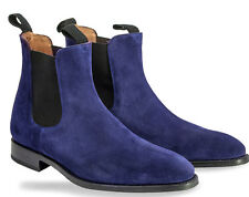 New Chelsea Navy Blue Color Hand Made Suede Boots, Mens Blue Chelsea Boots