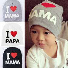 Baby Hat Baby Cap I Love Papa Mama Print Cotton Kid Hats Toddler Beanie