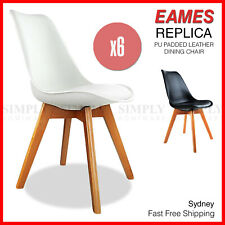 6x Replica Eames Dining Chairs PU Padded Leather White Black Wooden Legs Cafe