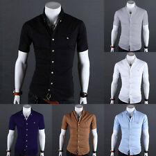 New Men's Stylish Casual Slim Fit Dress Shirts Button-Front Short Sleeve T-Shirt
