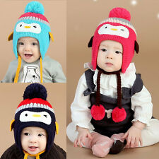 Baby Toddler Kids Boy Girl Winter Warm Crochet Knit Beanie Hat Cap Earflap