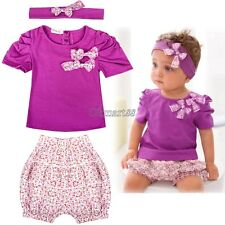 3Pcs Child Girl Infant Baby Kid Tops + Pants+Headband Outfit Costume Cloth 0-36M
