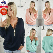 Women's Sexy V Neck Long Sleeve Pullover Loose Casual Cotton Jumper Tops Blouse