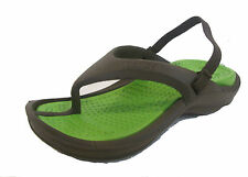 JUNIOR KIDS CROCS ATHENS FLIP FLOPS IN CHOCOLATE AND LIME