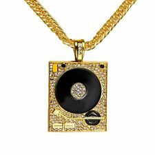 Men's Hip Hop Gold/Silver Filled Punk DJ Phonograph Pendant Cuban Chain Necklace