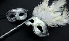 Halloween Costume Christmas Party Feather Couple venetian Masquerade Stick mask
