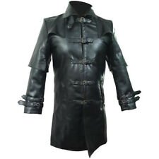 Mens REAL Black Leather Goth Matrix Trench Coat Steampunk Gothic Van Helsing- T5