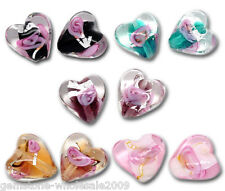 Wholesale W09 Mixed Lampwork Color-Lined Foil Heart Beads 12x12mm